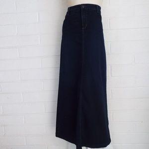 NYDJ 12 dark wash long A-line denim stretch skirt